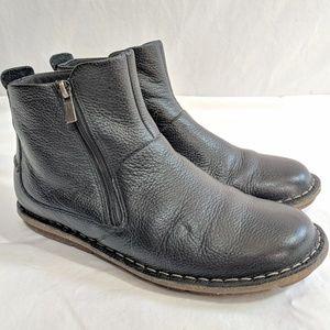 Clark Double Zipper Short Leather Boots